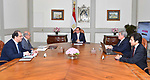 Egyptian President Abdel Fattah al-Sisi meets with Sharif Ismail, Prime Minister in Cairo, Egypt, on June 1, 2018. Photo by Egyptian President Office