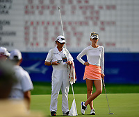 Jessica Korda of the United States on the 18th green  during the final round of the ANA Inspiration at the Mission Hills Country Club in Palm Desert, California, USA. 4/1/18.<br /> <br /> Picture: Golffile | Bruce Sherwood<br /> <br /> <br /> All photo usage must carry mandatory copyright credit (&copy; Golffile | Bruce Sherwood)