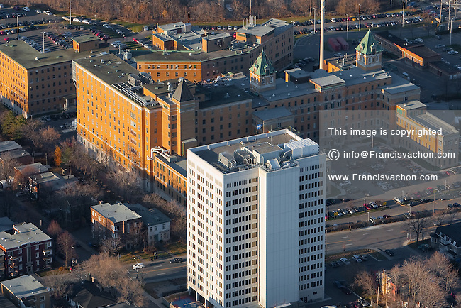 Hopital St-Sacrement hospital in Quebec city is pictured in this aerial photo November 11, 2009.