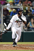 Fort Myers Miracle third baseman Niko Goodrum (15) at bat during a game against the St. Lucie Mets on April 18, 2014 at Hammond Stadium in Fort Myers, Florida.  St. Lucie defeated Fort Myers 15-9.  (Mike Janes/Four Seam Images)