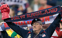 Foxborough, Massachusetts - April 28, 2018: In a Major League Soccer (MLS) match, New England Revolution (blue/white) defeated Sporting Kansas City (light blue/white), 1-0, at Gillette Stadium.