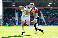 Tom Marshall of Gloucester Rugby fends Ross Chisholm of Harlequins. Gallagher Premiership match, between Harlequins and Gloucester Rugby on March 10, 2019 at the Twickenham Stoop in London, England. Photo by: Patrick Khachfe / JMP