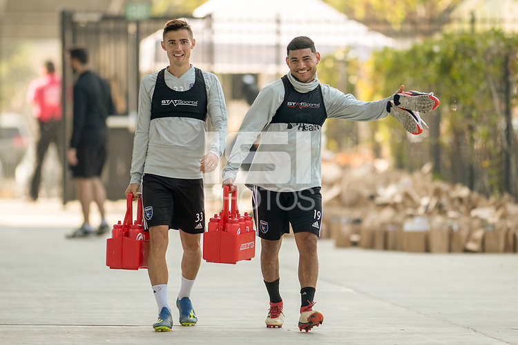 San Jose, CA - Sunday October 21, 2018: Paul Marie, Kevin Partida prior to a Major League Soccer (MLS) match between the San Jose Earthquakes and the Colorado Rapids at Avaya Stadium.