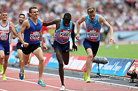 Filip Ingebrigtsen of Norway and Vincent Kibet of Kenya and Chris O'hare of Great Britain compete in the menís 1500 metres during the Muller Anniversary Games at The London Stadium on 9th July 2017