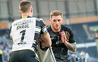 Picture by Allan McKenzie/SWpix.com - 19/04/2018 - Rugby League - Betfred Super League - Hull FC v Leeds Rhinos - KC Stadium, Kingston upon Hull, England - Marc Sneyd warms up.
