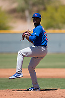 Chicago Cubs relief pitcher David Garner (36) prepares to deliver a pitch during a rehab assignment at an Extended Spring Training game against the Colorado Rockies at Sloan Park on April 17, 2018 in Mesa, Arizona. (Zachary Lucy/Four Seam Images)