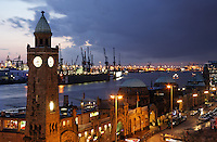 The tower at Landungsbrücken on Hamburg's Elbe River waterfront tells both the time and the tide level, Germany<br />