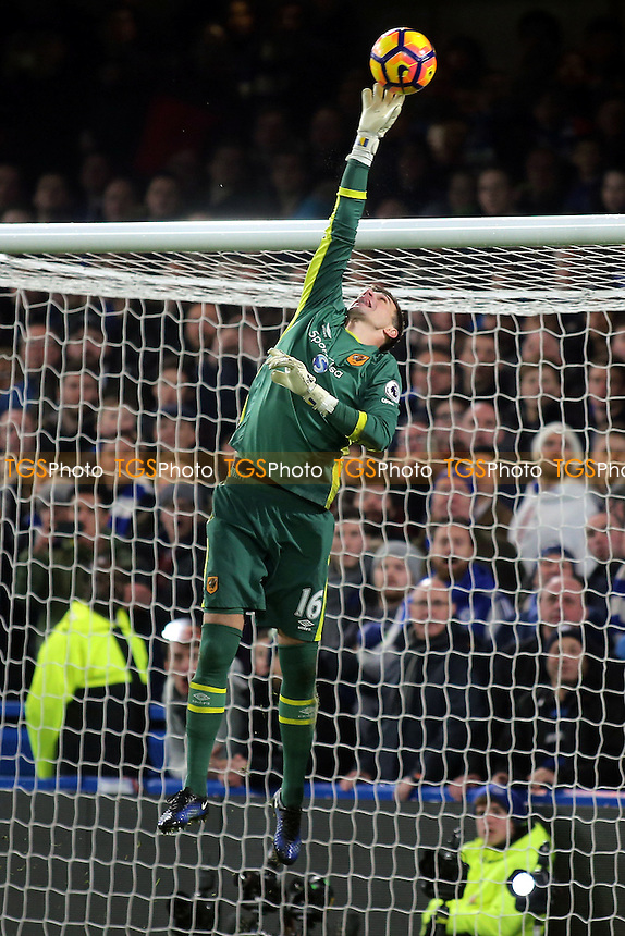 Hull City goalkeeper, Eldin Jakupovic, makes a fine save during Chelsea vs Hull City, Premier League Football at Stamford Bridge on 22nd January 2017