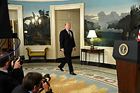 United States President Donald J. Trump arrives to make remarks on the mass shooting in Las Vegas, Nevada, from the Diplomatic Room at the White House, Washington, DC, October 2, 2017. More than 50 people attending a music festival were killed and hundreds wounded by a gunman.                  <br /> <br /> CAP/MPI/CNP/RS<br /> &copy;RS/CNP/MPI/Capital Pictures