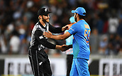 8th February 2019, Eden Park, Auckland, New Zealand;  Kane Williamson and Rohit Sharma at the end of the match. New Zealand v India in the Twenty20 International cricket, 2nd T20.