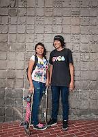 Eduardo Jose Vidal Jimenez, 17 years old and Maria Fernanda Sanchez Vidals, 16 yers old. Portraits of Adolescents, glorieta de Insurgentes, in Mexico City. Releases# 6 and 7
