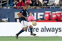 FOXBOROUGH, MA - SEPTEMBER 29: Andrew Farrell #2 of New England Revolution traps the ball during a game between New York City FC and New England Revolution at Gillette Stadium on September 29, 2019 in Foxborough, Massachusetts.