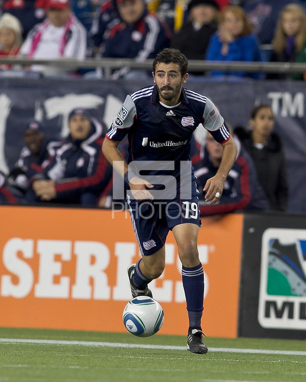 New England Revolution midfielder Monsef Zerka (19) on the attack.  In a Major League Soccer (MLS) match, the Columbus Crew defeated the New England Revolution, 3-0, at Gillette Stadium on October 15, 2011.