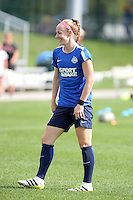 Kansas City, MO - Sunday August 28, 2016: Becky Sauerbrunn prior to a regular season National Women's Soccer League (NWSL) match between FC Kansas City and the Boston Breakers at Swope Soccer Village.