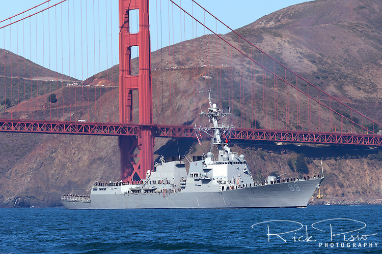 The Arleigh Burke class desroyer USS Preble (DDG-88) passes under the Golden Gate and into San Francisco Bay.