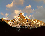 Pilot Peak at sunset in the San Juan Mountains, Telluride, Colorado, USA .  John leads wildflower photo tours into American Basin and throughout Colorado. All-year long. .  John leads private photo tours in Telluride and the San Juan Mountains. Year-round Colorado photo tours.