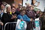 Supporters watching Nigel Farage MEP as he speaks on stage at a Brexit Party event in Chester, Cheshire. Mr Farage gave the keynote speech and was joined on the platform by his party colleague Ann Widdecombe, the former Conservative government minister. The event was attended by around 300 people and was one of the first since the formation of the Brexit Party by Nigel Farage in Spring 2019.