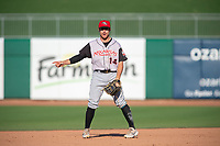 Arkansas Travelers infielder Donnie Walton (14) signals during a Texas League game between the Northwest Arkansas Naturals and the Arkansas Travelers on May 30, 2019 at Arvest Ballpark in Springdale, Arkansas. (Jason Ivester/Four Seam Images)