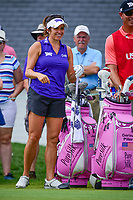 Gerina Piller (USA) shares a laugh on the first tee during Saturday's third round of the 72nd U.S. Women's Open Championship, at Trump National Golf Club, Bedminster, New Jersey. 7/15/2017.<br /> Picture: Golffile | Ken Murray<br /> <br /> <br /> All photo usage must carry mandatory copyright credit (&copy; Golffile | Ken Murray)