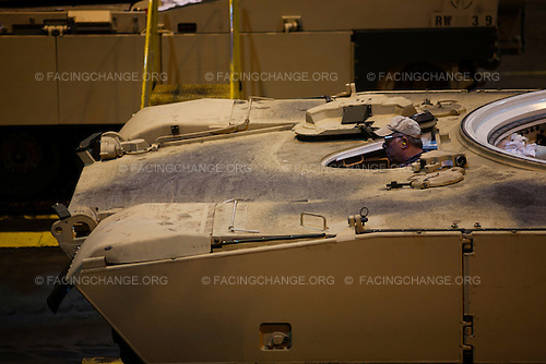 Lima, Ohio.March 2012..Abrams tanks near completion...The Joint Systems Manufacturing Center (US Army Tank Plant) which is the only heavy armored tank factory in the United States. They build and refurbish Abrams tanks, Stryker armored personnel carriers, and other weapons systems.