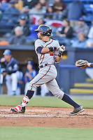 Rome Braves shortstop Alejandro Salazar (7) swings at a pitch during a game against the Asheville Tourists at McCormick Field on April 14, 2016 in Asheville, North Carolina. The Tourists defeated the Braves 5-4. (Tony Farlow/Four Seam Images)