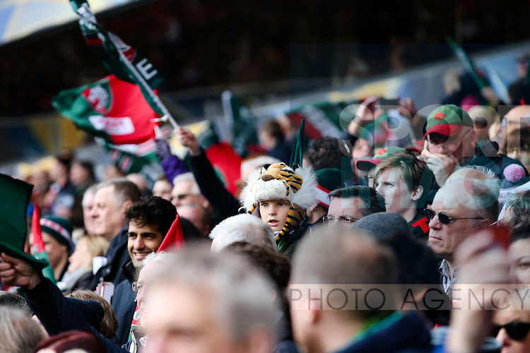 Leicester fans during the 2016 semi-final of the European Rugby Champions Cup match at the City Ground, Nottingham. Photo credit should read: Charlie Forgham Bailey/Sportimage