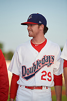 Auburn Doubledays pitcher Tanner Driskill (29) during introductions before a game against the Hudson Valley Renegades on September 5, 2018 at Falcon Park in Auburn, New York.  Hudson Valley defeated Auburn 11-5.  (Mike Janes/Four Seam Images)