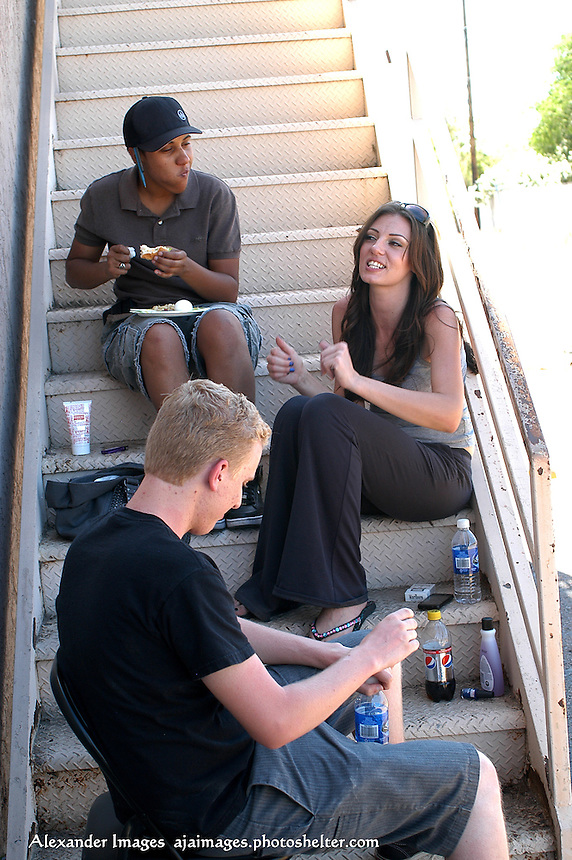 AJ Alexander - Say it's lunch for Actor Mat Vansen, Director Erika Liciaga and Actor Jamie Jurju on the set of Mind Over Matter on Friday May 13, 2011..Photo by AJ Alexander
