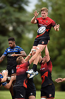 Matthew Screech of the Dragons wins the ball at a lineout. Bath Rugby pre-season training on August 8, 2018 at Farleigh House in Bath, England. Photo by: Patrick Khachfe / Onside Images