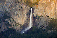 Yosemite National Park, CA<br /> Bridalveil Falls in the Yosemite Valley, from the overlook at Tunnel View