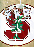 Seniors Milena Flores, Christina Batastini and Yvonne Gbalazeh during the 1999-2000 women's basketball season at Maples Pavilion in Stanford, CA.