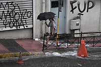 Pictured: Heavy rainfall in Leoforos Alexandras, Athens, Greece. Sunday 29 July 2018<br /> Re: Flash-flooding after heavy rainfall in parts of Athens, Greece.