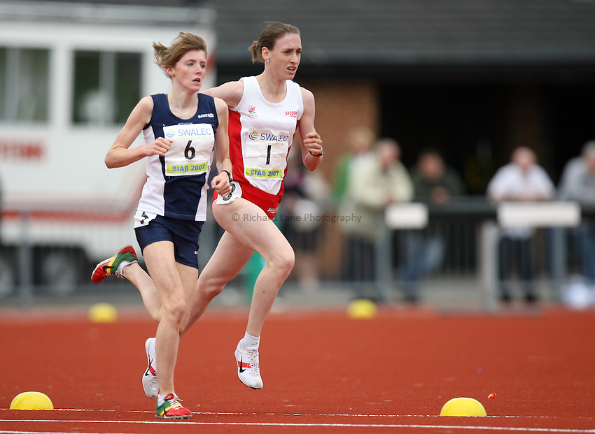 Photo: Rich Eaton...Schools International Athletic Board, Track & Field International Match, Newport. 21/07/2007. Laura Weightman of England (r) leads Beth Potter of Scotland and goes on to win gold in the girls 1500m.
