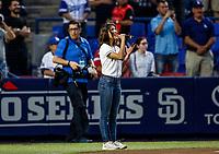 Maria Leon, Cantante, entona el himno nacional mexicano.<br /> Dodgers de Los Angeles contra Padres de San Diego, durante el primer juego de la serie las Ligas Mayores del Beisbol en Monterrey, Mexico el 4 de Mayo 2018.<br /> (Photo: Luis Gutierrez)