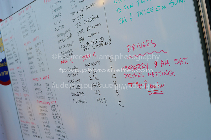 The white board listing the heats.