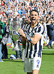 Millwall's Lee Gregory celebrates with the trophy during the League One Play-Off Final match at Wembley Stadium, London. Picture date: May 20th, 2017. Pic credit should read: David Klein/Sportimage
