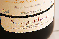 Detail of a label.  Domaine Eric et Joel Joël Durand, Ardeche, Ardèche, France, Europe
