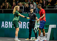 Rotterdam, The Netherlands, 16 Februari 2020, ABNAMRO World Tennis Tournament, Ahoy,<br /> Mens Single Final: Gaël Monfils (FRA) gets the balls and towel from a ballgirl<br /> Photo: www.tennisimages.com