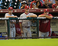 Hamels, Happ, Blanton 6035.jpg Philadelphia Phillies at Houston Astros. Major League Baseball. September 7th, 2009 at Minute Maid Park in Houston, Texas. Photo by Andrew Woolley.
