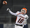 Dominic Rutigliano #10 of Carey throws a pass during the Nassau County Conference II varsity football semifinals against Mepham at Hofstra University on Friday, Nov. 10, 2017.