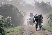 race leaders Taco van der Hoorn (NED/Roompot-Nederlandse Loterij), Tim Merlier (BEL/Vérandas Willems-Crelan),  Amund Grondahl Jansen (NOR/LottoNL-Jumbo) & wout Van Aert (BEL/Vérandas Willems-Crelan) emerging from the dust<br /> <br /> 92nd Schaal Sels 2017 <br /> 1 Day Race: Merksem > Merksem (188km)