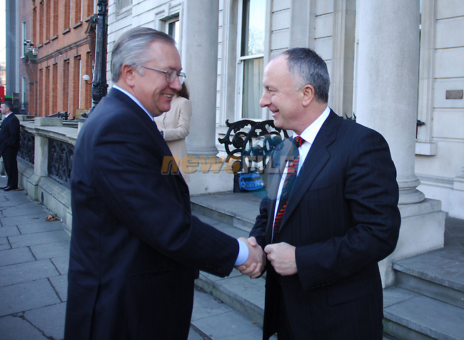 State visit to Ireland by the Minister of Foreign Affairs of Ukraine, H.E. Mr. Borys Tarasyuk in Dublin 08/02/2006. Ireland Minister of Foreign Affairs Mr Dermot Ahern TD greets H.E. Mr. Borys Tarasyuk at Iveagh House, Ministry of Foreign Affairs, Dublin..Photo AFP/NEWSFILE/BARRY CRONIN.(Photo credit should read AFP PHOTO BARRY CRONIN/NEWSFILE)...This Picture has been sent you under the condtions enclosed by:.Newsfile Ltd..the Studio,.Millmount Abbey,.Drogheda,.Co Meath..Ireland..Tel: +353(0)41-9871240.Fax: +353(0)41-9871260.GSM: +353(0)86-2500958.email: pictures@newsfile.ie.www.newsfile.ie.FTP: 193.120.102.198..This picture is from Fran Caffrey@newsfile.ie