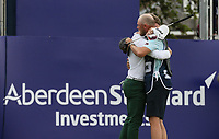 A-team embrace; Brandon Stone (RSA) with caddie Teagan Moore during the Final Round of the ASI Scottish Open 2018, at Gullane, East Lothian, Scotland.  15/07/2018. Picture: David Lloyd | Golffile.<br /> <br /> Images must display mandatory copyright credit - (Copyright: David Lloyd | Golffile).