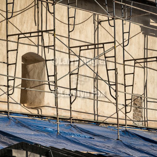 Window and scaffolding, interior courtyard, Historic Mission San Antonio de Padua, 3rd of the Father Serra Mission, 1771, Monterey County, Calif.<br /> <br /> Earthquake retrofit, Fall 2014