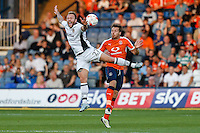 Sean Rigg of Newport County (left) and Johnny Mullins of Luton Town (right) battle for the ball during the Sky Bet League 2 match between Luton Town and Newport County at Kenilworth Road, Luton, England on 16 August 2016. Photo by David Horn.