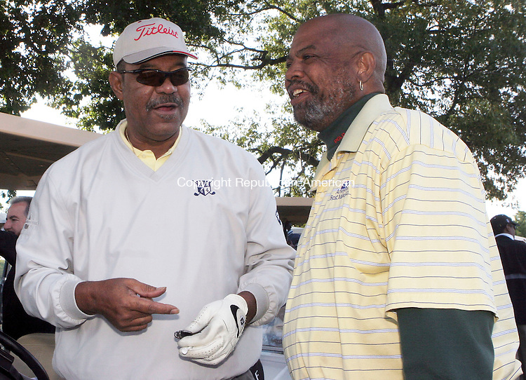 WATERBURY, CT-22September 2006-092206TK01- (left to right) At the 12th annual Bobby Bonds golf tournament held Friday at the Western Hills Golf course, former New York Yankee players, Cliff Johnsen and Dock Ellis, share baseball memories as they wait to tee off.   Tom Kabelka Republican-American (Cliff Johnsen and Dock Ellis)