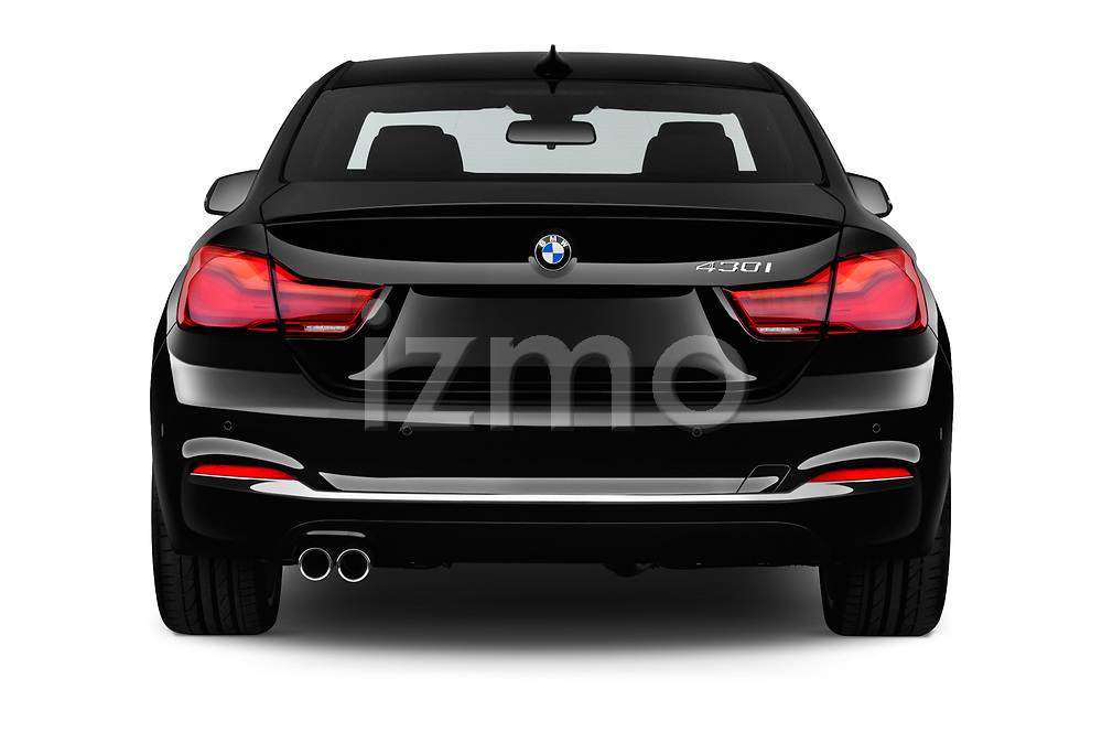 Straight rear view of a 2020 BMW 4 Series 430i Coupe 2 Door Coupe stock images