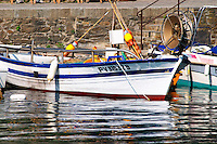 Typical Collioure or Catalan fishing boats. Collioure. Roussillon. France. Europe.