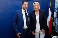 Matteo Salvini e Marine Le Pen<br /> Roma 08/10/2018. Convegno Crescita economica e prospettive sociali in un'Europa delle Nazioni.<br /> Rome October 8th 2018. Debate bout the economic growth and social prospectives in the Europe of Nations.<br /> Foto Samantha Zucchi Insidefoto