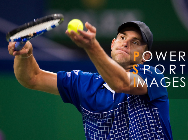 SHANGHAI, CHINA - OCTOBER 12:  Andy Roddick of USA serves to Philipp Kohlschreiber of Germany during day two of the 2010 Shanghai Rolex Masters at the Shanghai Qi Zhong Tennis Center on October 12, 2010 in Shanghai, China.  (Photo by Victor Fraile/The Power of Sport Images) *** Local Caption *** Andy Roddick